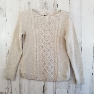 Talbots Petite Oatmeal Gem Sweater